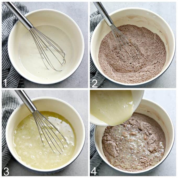 4 process photos of mixing cake batter in a mixing bowl.