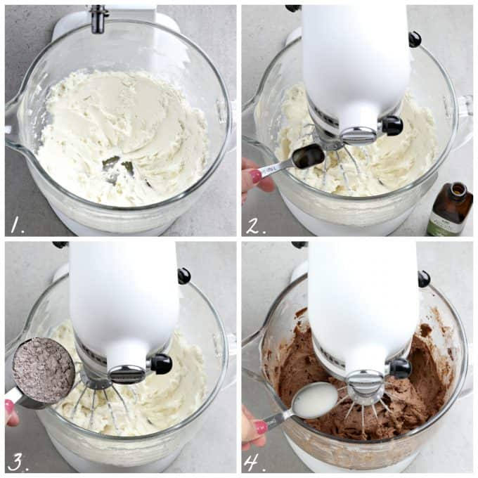 four process photos of making frosting with a stand mixer.