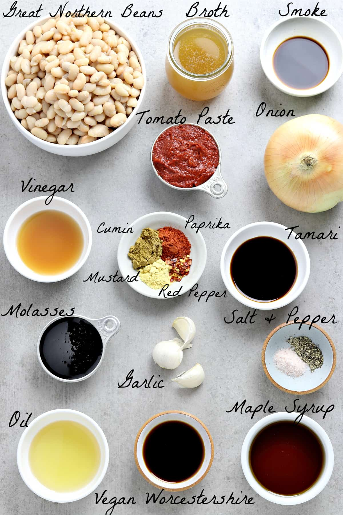 all of the ingredients to make baked beans on a table top.