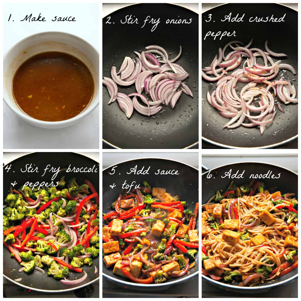 6 process photos of making sauce and cooking veggies in a pan.