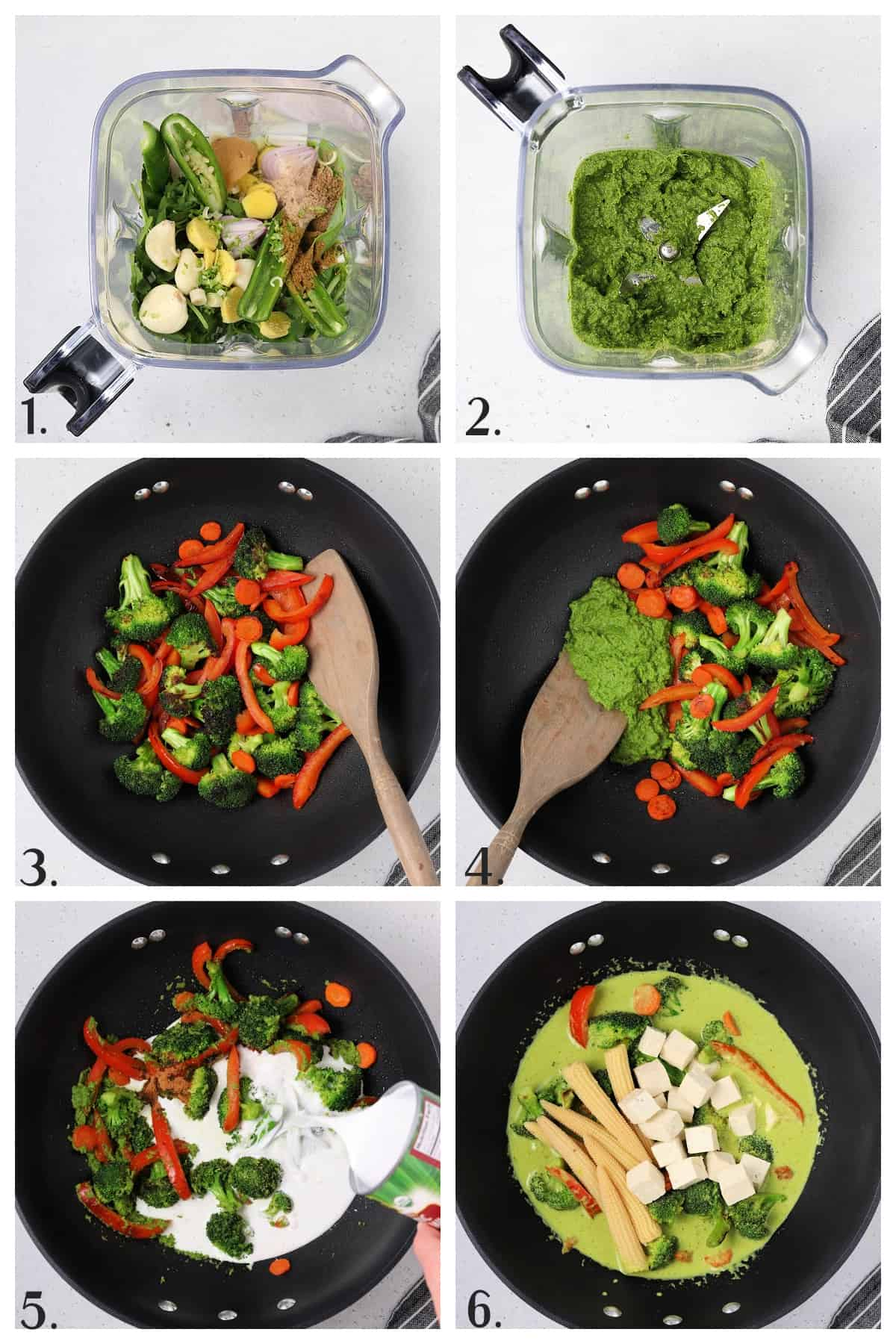 Six process photos of blending and cooking ingredients for recipe.