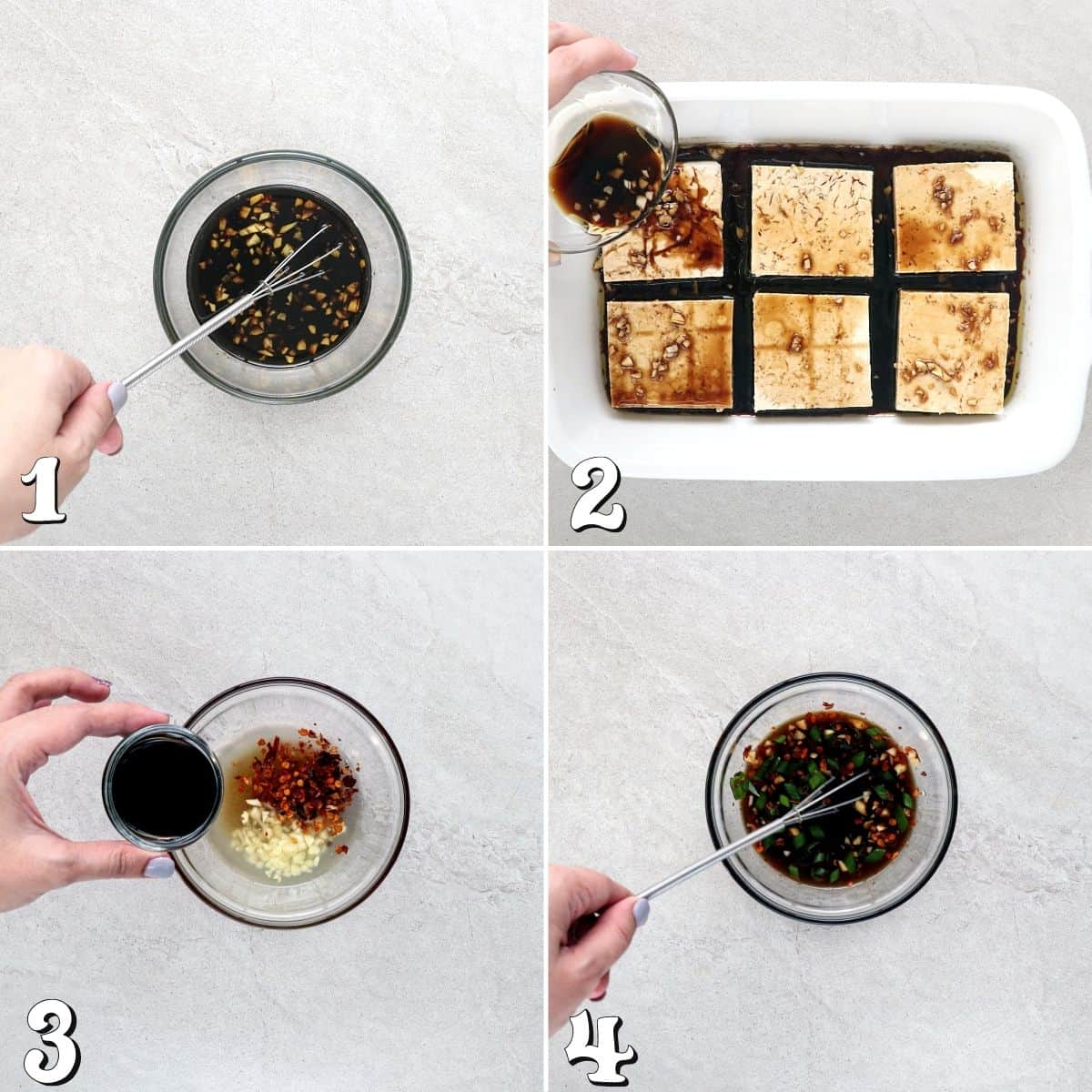 4 process photos of making the marinade and dipping sauce.