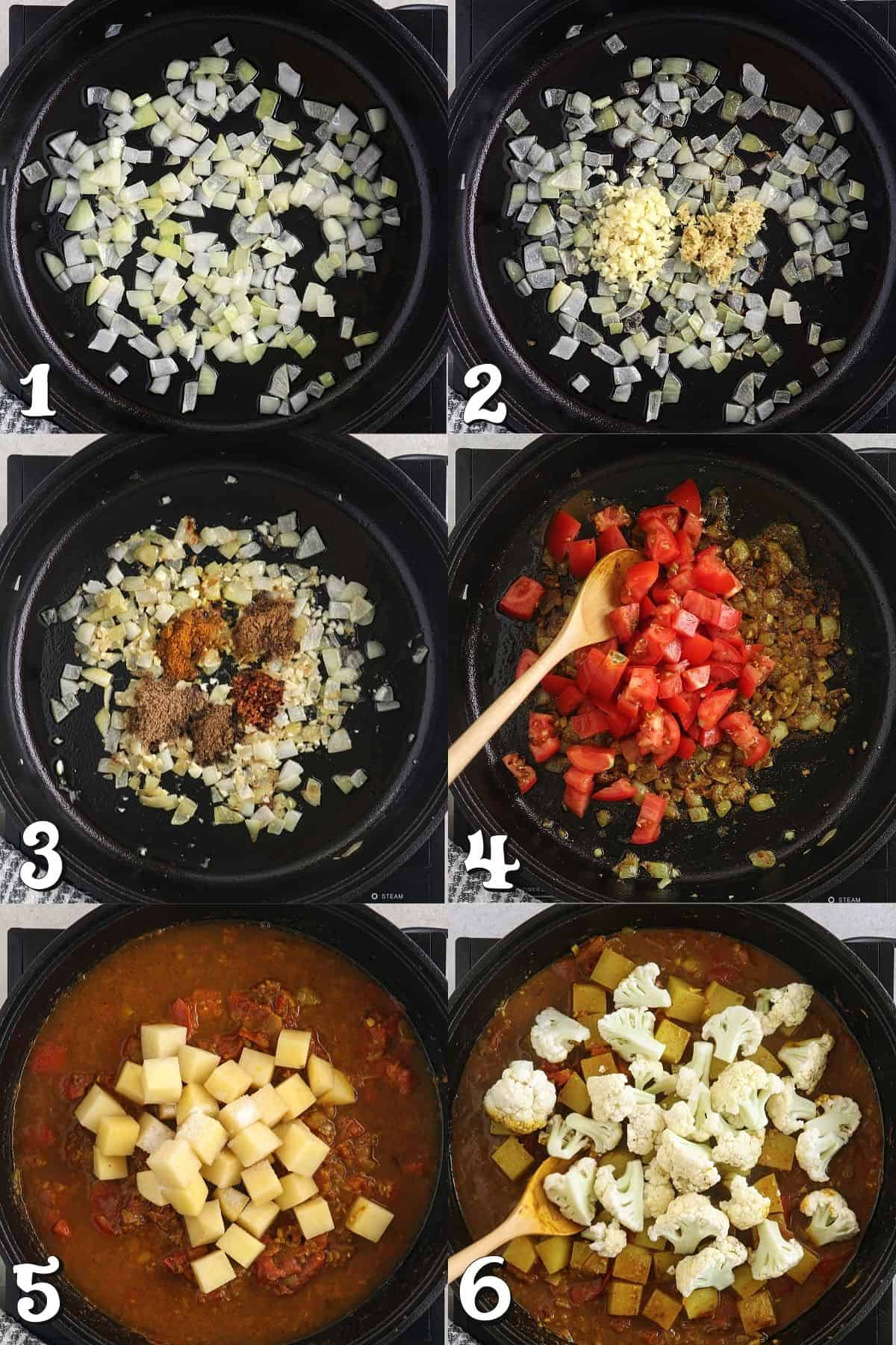 6 step-by-step process photos showing how to cook the recipe in a pan.