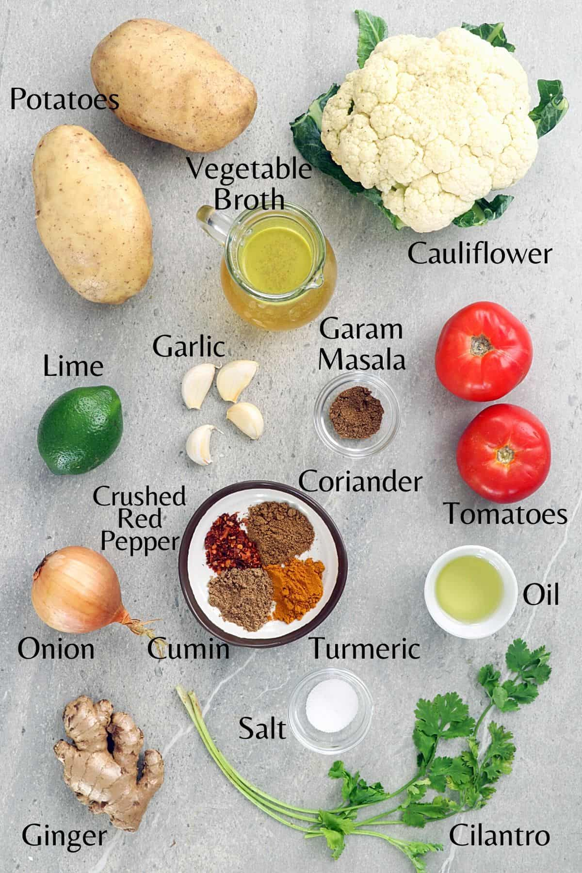 All ingredients to make the recipe on a stone table top.