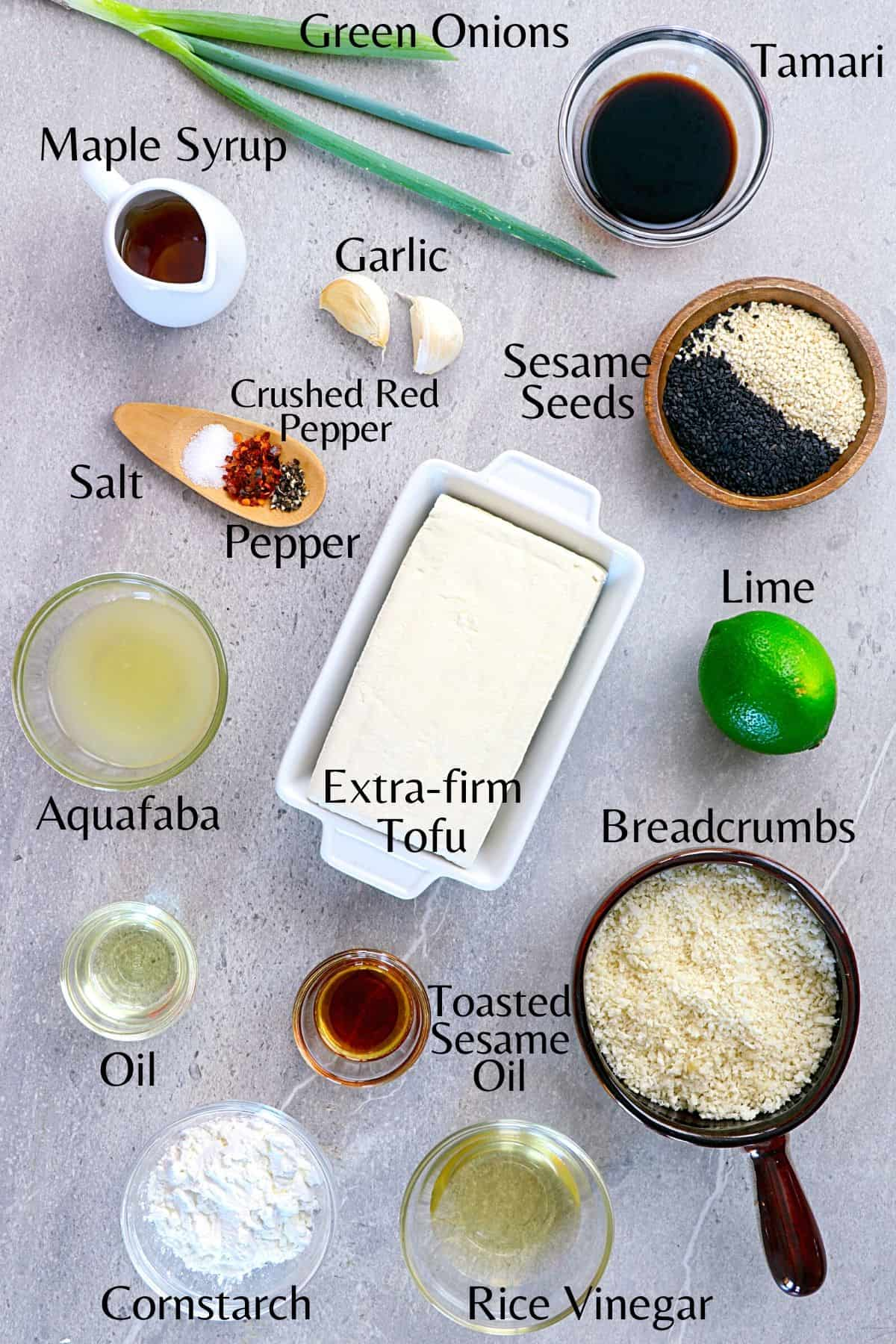 Ingredients to make the tofu and dipping sauce on a stone table top.
