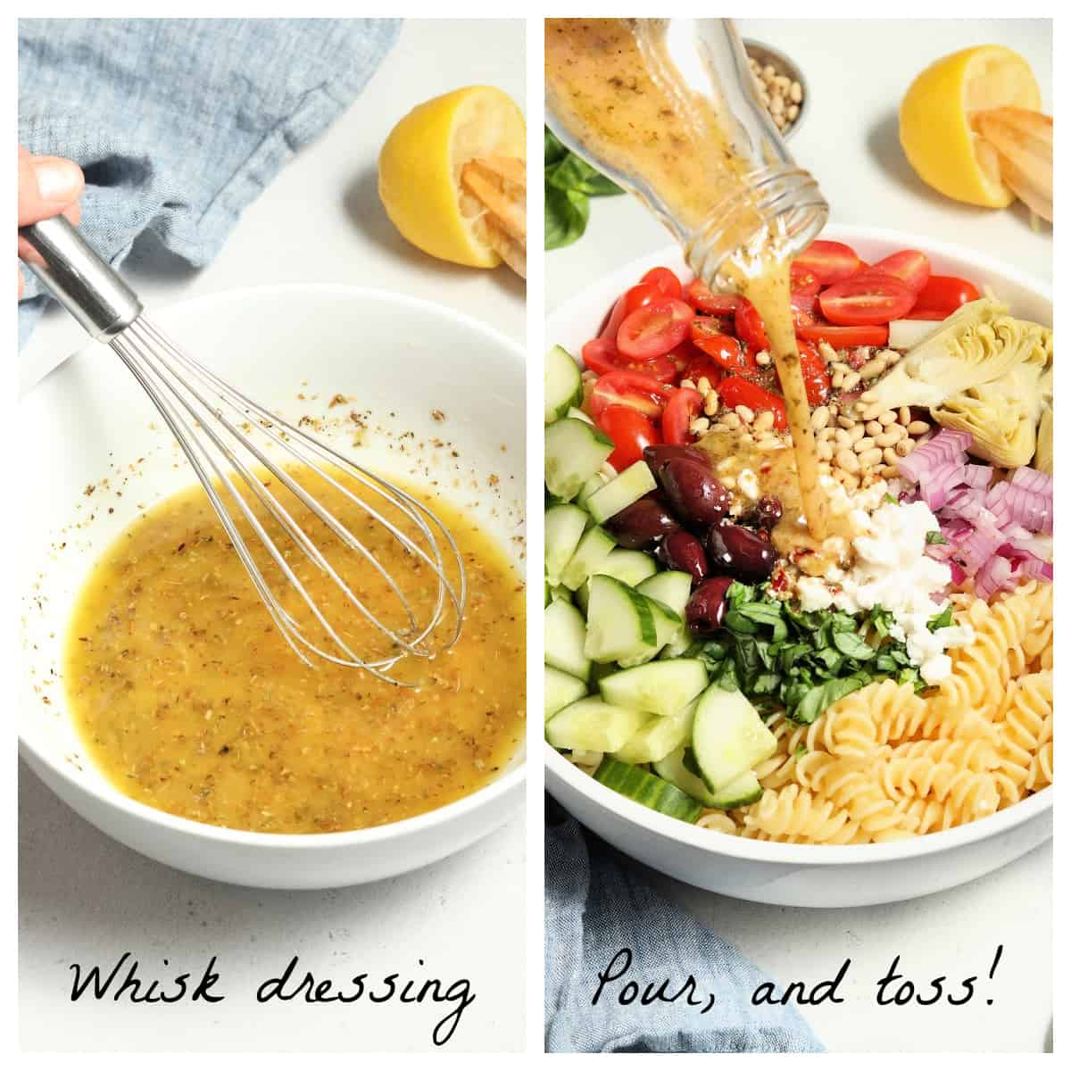 Two process photos of whisking dressing and pouring it onto the pasta and vegetables.